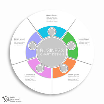 Business Chart Design, 5 division, Vector