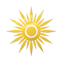 paper cut style sun symbol. Golden gradient vector icon