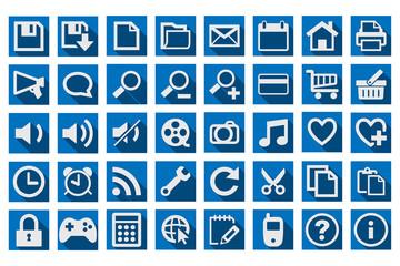 Iconos azules para aplicaciones.