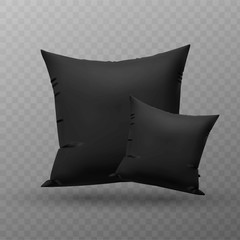 Two blank black square pillow, cushion vector illustration.