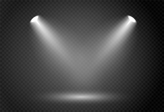 Spotlight effect for theater concert stage. Abstract glowing light of spotlight illuminated on transparent background.