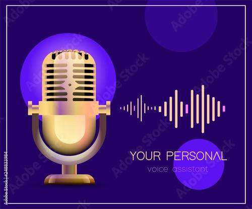 Personal assistant and voice recognition concept flat vector