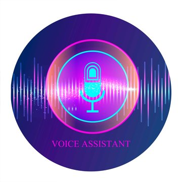Personal assistant and voice recognition concept flat vector illustration of sound symbol intelligent technologies. Microphone button with bright voice and sound imitation lines.