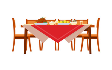 Dishes on table with chairs. Chicken and potatoes, salads and drinks, cutlery and plates on red tablecloth. Served holiday dinner in realistic style vector