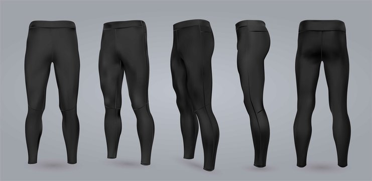 Men's black leggings mockup from different sides, isolated on a gray background. 3D realistic vector illustration