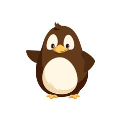 Penguin waving right wing and sending greetings. Funny arctic bird, small animal kid, funny creature. Wintertime cartoon character isolated vector