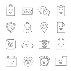 Smiling items linear icons set