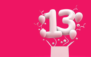 Happy 13th birthday surprise balloon and box. 3D Rendering