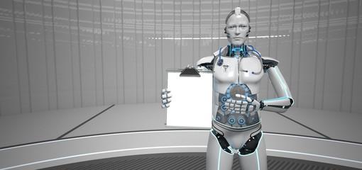 Fototapete - Humanoid Robot Clipboard