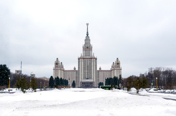 building of Moscow state University in Moscow, University of Moscow in Moscow winter