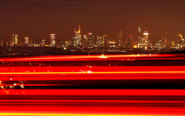 Frankfurt's financial district with Germany's second largest bank, Commerzbank (5thL), is photographed early morning  from Kronberg