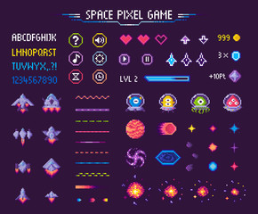 Fototapeta Space pixel game isolated vector icons font and cosmic characters. Arrows and hearts spaceship and aliens stars and planets, score points and meteorite. Arcade games elements. Video platform interface obraz