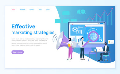 Effective marketing strategies website vector, optimization of web. Workers with magnifying glass making researches and analysis of content, promotion. Webpage template, landing page in flat style