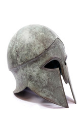Brass Metal Saxon Antique Armor Helmet on White Background
