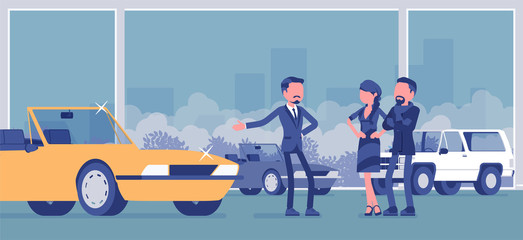 Car showroom, dealer and vehicle buyers. Male seller offering expensive cabriolet for sale, man and woman, couple choosing new family auto in sales agency. Vector illustration, faceless characters