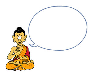 Illustration of Buddha with empty dialogue bubble