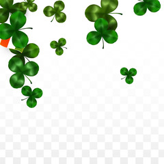 Vector Clover Leaf  and Ireland Flag Isolated on Transparent Background. St. Patrick's Day Illustration. Ireland's Lucky Shamrock Poster. Invitation for Irish Concert in Pub. Tourism in Ireland.