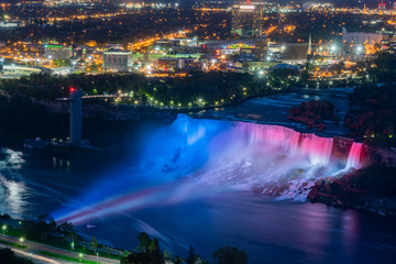 Night Aerial view of light up of the beautiful Niagara Falls
