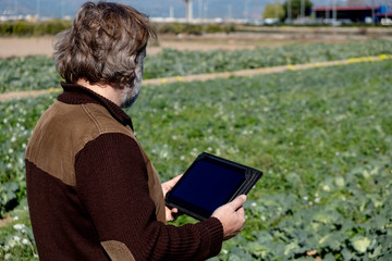 Rear view of a farmer with a tablet watching his crops