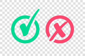 Set of Green Check Mark Icon and Red X cross Tick Symbol
