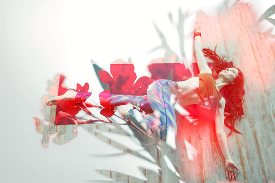 double exposure woman practising yoga and toned oleander flowering branch on white background,trendy healthy lifestyle design