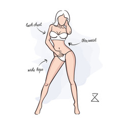 Woman hourglass body shape. Vector illustration of girl's figure. Woman in bathing suit.