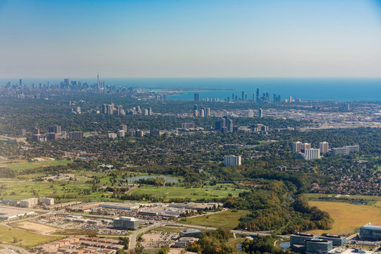 Aerial view of the Mississauga and Toronto area cityscape