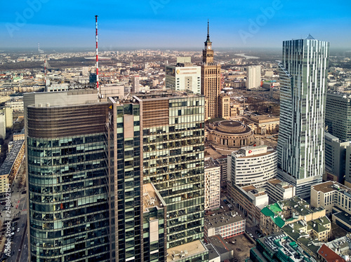 Warsaw Poland February 10 2019 Beautiful Panoramic Aerial Drone