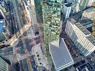 WARSAW, POLAND - FEBRUARY 10, 2019: Beautiful panoramic aerial drone view to panorama of Warsaw modern City, Q22 - neomodern office skyscraper designed by APA Kuryłowicz & Associates Fototapete