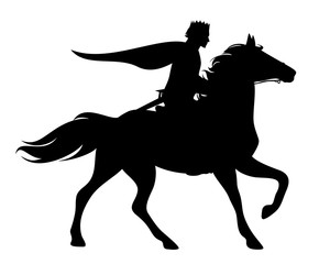 prince with crown and cloak riding a running horse - black vector silhouette of fairytale character