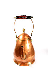 Brass Copper tea Pot Kettle on White Background