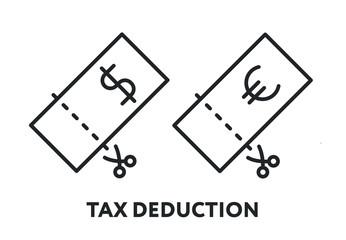 Tax Deduction Refund Discount Concept. Dollar Euro Bill Scissors Cut. Vector Flat Line Stroke Icon