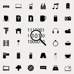 digital code under magnifying glass icon. web icons universal set for web and mobile on white background