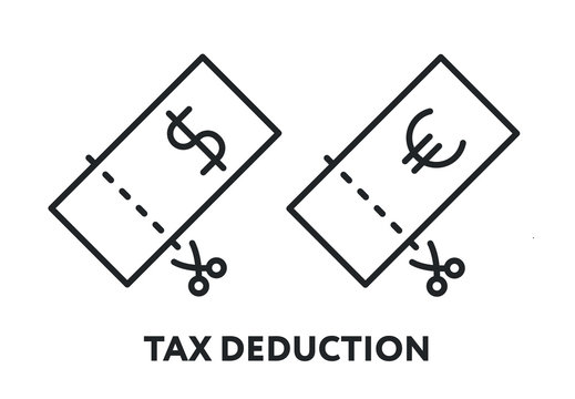 Tax Deduction Refund Discount Concept. Dollar Euro Bill Scissors Cut. Vector Flat Line Stroke Icon