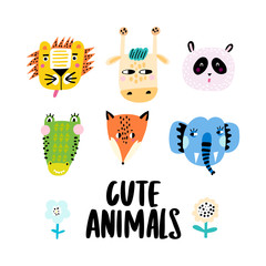 Set of cute animal faces - crocodile, panda, fox, lion, giraffe and elephant. Vector Illustration.