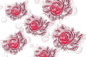 Abstract roses on a white background, St. Valentine's Day
