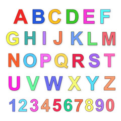 Children's multicolored alphabet and numbers