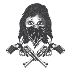 Illustration of a bandit girl with bandana and revolvers. Isolated on white background.