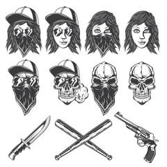 Set of isolated illustrations of bandit girls, skulls, knife, baseball bats and revolver. Isolated on white background.