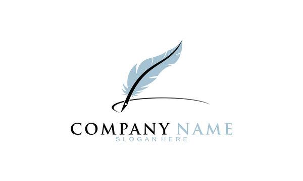 Feather pen vector logo