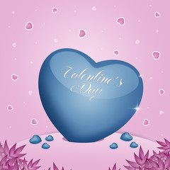 an illustration of a blue heart for Valentine Day