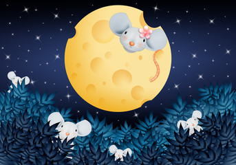 cute little mouse on the moon in the shape of a cheese