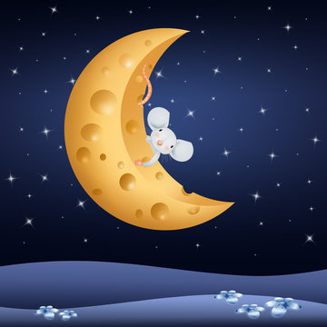 illustration of nice mice on the moon of cheese