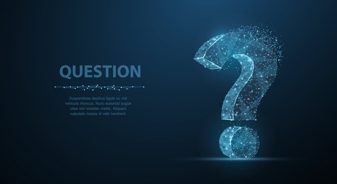 Question mark. 3d abstract vector on dark blue background with dots and stars. Ask symbol.