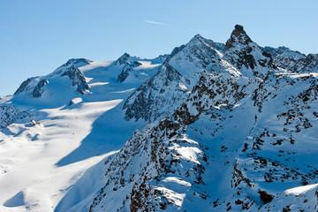French Alps from Mont Vallon in Meribel Mottaret Les Trois Vallees ski area France