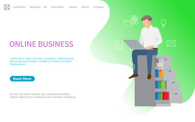 Online business web poster, man sitting on shelves with laptop vector. Cart and folders line art icons. Person working in internet on notebook. Website or webpage template, landing page in flat style