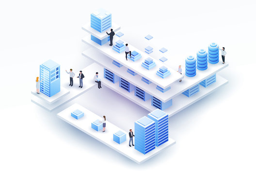 3d isometric concept big data center with server or hosting and peoples. Abstract design composition for website, banner, landing page. High technology vector illustration.