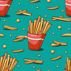 Seamless pattern with french fries. Hand drawn fries on blue background. Cute vector cartoon fast food background. Perfect for wrapping, fabric and cafe menu backdrop.