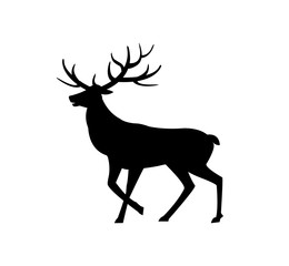 Deer animal with horns isolated icon silhouette vector. Wild life mammal with fur, character living in forests, winter stag, drawing of moose zoo
