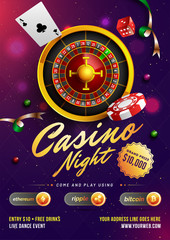 Casino Night template or flyer design with realistic roulette wheel and casino elements on purple background.